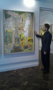Brian Fogarty with third panel of the Almora Triptych